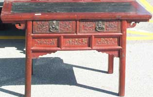 Antique pine Chinese carved altar table